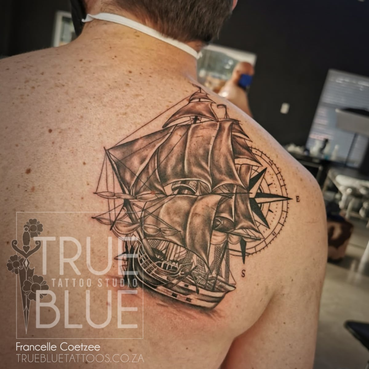 Tattoo-Francelle-Coetzee-Black-and-Grey-Ship-Compass