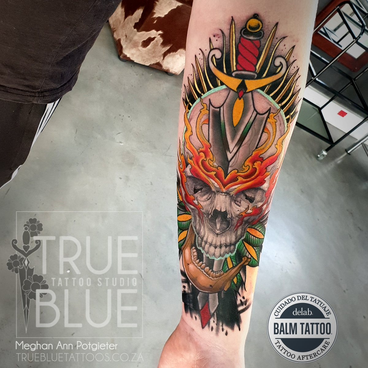 Tattoo-Meghan-Ann-Color-Realism-Skull-Flames-Neo-Traditional